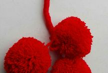 Pompons / Hats with Pompons, Bags with Pompons, Sandals with Pompons, Keys chains with Pompons, basket Bags with pompons