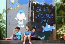 MAGIC OF THE COLOUR BLUE UNFOLDS AT MOTHER'S PRIDE / Colour is a part of everyday life. Not only are they fun to play with, they are also the building blocks of cognitive development for children. Colour blue was introduced to the vocabulary of Pre Nursery. To build-matching, identification and  naming of blue colour, Prideens attended the Blue Theme Party.