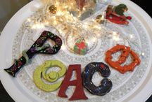 my creations  / PEACE - LETTERS MADE WITH STONEWARE CLAY AND COLOURED WITH CERAMIC GLASES'