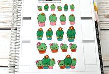 Hand drawn planner stickers