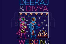 Urban Warli Indian Wedding Invitation Suite / Indian Wedding Invitation Suite Illustrated and Designed by www.scdbalaji.com, Indian Illustrator. Invite Illustration Style inspired by Ancient Indian Iconography found in Warli, Folk Art of India.