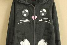 Grey Cat Hoodie Jaket