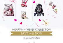 Hearts & Kisses Collection / Since LOVE is meant to be shared all the time and not just one day a year, grab a single card or a pack of mini art notes from our Hearts & Kisses collection and make that special someone's day.