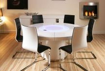 """The gorgeous """"850"""" dining table range. / For that statement WOW table in white gloss, black oak, walnut or elm. Special features include aluminium trim and central, revolving glass section (lazy susan). Beautifully crafted and will comfortably seat up to 10 - extra chairs available upon request."""