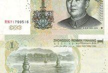 Billets Chine / Les billets chinois en circulation sont :  1, 5, 10, 20, 50, 100 Yuan. Toujours avec le portrait de Mao Tsé-Toung (Zédong) à droite sur le billet qui était un homme politique et chef militaire chinois, fondateur et dirigeant de la République populaire de Chine.