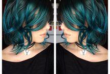 green/blue hair