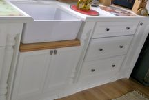 Country Style with White Duco / This stylish American Country design with matt white duco finishes and Red Oak Solid tops to compliment the white finishes together with Pro Quartz Porcelain worktops.