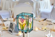Stained glass candle holders