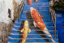 STAIRS / Painted and the real illusion of Stairs in our homes and nature