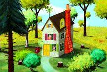 Illustrations - whimsical houses