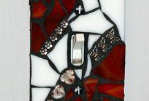 placca rosso mosaico