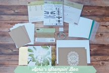 iStampin' Box / Every month, you'll receive a variety of Stampin' Up! supplies packaged with love to create 6 cards. All materials are included. Visit www.iStampin.com to learn more.