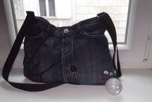 denim bags / bags , tote, denim, jeans, old denim, handmade, handbag
