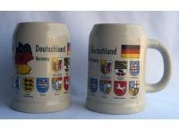 German Ceramic Beer Mugs and Mini Mugs / The traditional German beer mugs and mini mugs are made of the finest quality ceramic material available. Various types of designs are available.