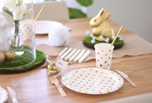 Easter Decorations - Gold & White / Check out our Easter table for the grown-ups!  A gorgeous gold and white Easter theme featuring gold foil and white party supplies, artificial moss pads and jute runner.  All partyware can be purchased from our website www.hipandhooray.com.au