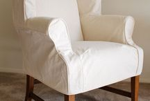 Laura's Canvas Wingback Slipcover / A custom made canvas slipcover for a traditional, high-back wing chair created with simple lines and a tailored fit.