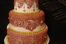 Indian Henna design wedding cakes / Intricate designs.