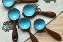 Blue hand turned coffee scoop