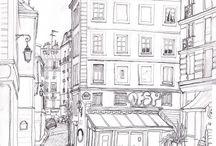 Paris, France. Urban sketch, Plein air