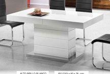 Mesas de comedor modernas / esas de comedor modernas de calidad, con diferentes modelos acabados en madera natural o lacados.