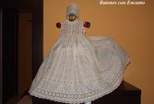 Faldones y batones para bebés. / Todo hecho a mano. http://batonesconencanto.blogspot.com.es/