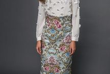 high waist jacquard full skirt