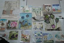 Stitched collage, papers and fabrics / Work done by the lovely ladies who attended a Creative Thread workshop with Anne Brooke. Stitched Collage.