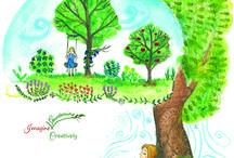 Mirabelle's Forest Garden / Forest garden and children at play