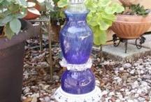 GLASS BIRD FEEDERS & BATH / Handmade recycled glass bird feeders & bird baths