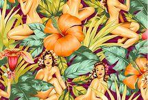 Yaprak oranj çiçekli kızlar