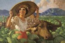 FERNANDO AMORSOLO 1892-1972- FILIPINO / FERNANDO AMORSOLO- NACIÓ EN MANILA.  Escenas llenas de luz y color representando a personas y escenas  propias de su  país