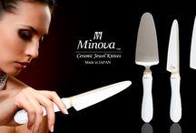 "Pearl White / Minova Ceramic Jewel Knives(ミノバセラミックジュエルナイフ)は、ダイニングテーブルを華やかに演出する特別なファインセラミックナイフ&ケーキサーバー。洗練された美しさを意味する『雅』の如く、パールホワイトとゴールドによるジュエリーのような素材の美しさを表現するシリーズです。Like ""MIYABI"" meaning refined elegance, it's a series expressing the simple beauty with white and gold streak which is the royal road of the tableware."