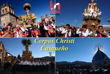 Cusquenian Corpus Christi / Considered one of the most lavish celebrations of Cusco, consists in the procession of 15 images of saints and virgins from the various parishes of Cusco, to greet the Body of Christ.