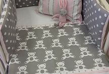 Teddy Bears / Our Grey Teddy fabric with a complimenting Stripe and Polka Dot, and just a dash of Pink creates this adorable theme :)