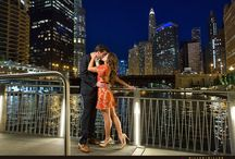 Chicago Night Engagement Photos Photography