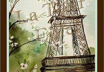 Gravuras Paris e carimbos