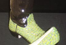 Ceramic Cowboy Boot Vase