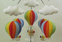 Festa balão, avião e nuvem