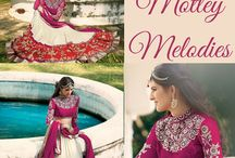Motley Melodies / Motley Melodies !! Assorted collection of choicest #lehengas with long ornate front placket Kurtas. Select yours at http://www.bluekurta.com/index.php?route=product%2Fsearch&filter_name=WLGd611020