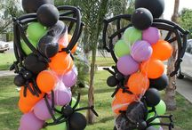 Halloween decorations and balloons