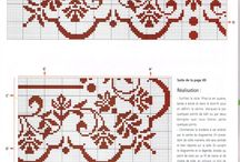 Broderi, cross stitch mostly borders