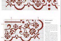 Broderi, cross stitch mostly borders