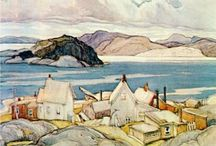 "Art Bead Scene Monthly Challenge - June 2013 / As we kick off summer, June brings us an idyllic landscape ""Jackknife Village"", 1926 - by Franklin Carmichael"