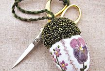 pin cushion and scissors fobs