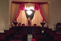 Red & Gold Mandap / Red & Gold Mandap with hanging  Crystal Chandelier