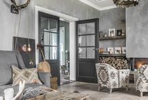 Lounge inspiration with grey and wood accents