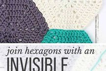 Sew hexigan pieces together with an invisable stitch