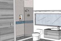BATHROOM: 8x8 / Corner Shower  - Glass door - Floating Vanity - Marmotech 787-720-8500