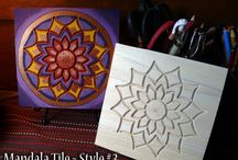 Wood Mandala Tiles / These wood mandala tiles are ready for you to paint. Add your own style, favorite colors and symbols. https://www.etsy.com/shop/TrueNorthArts