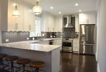 Ample Kitchen Storage in this Grey & White Bathroom / by Lane Homes & Remodeling, Inc.